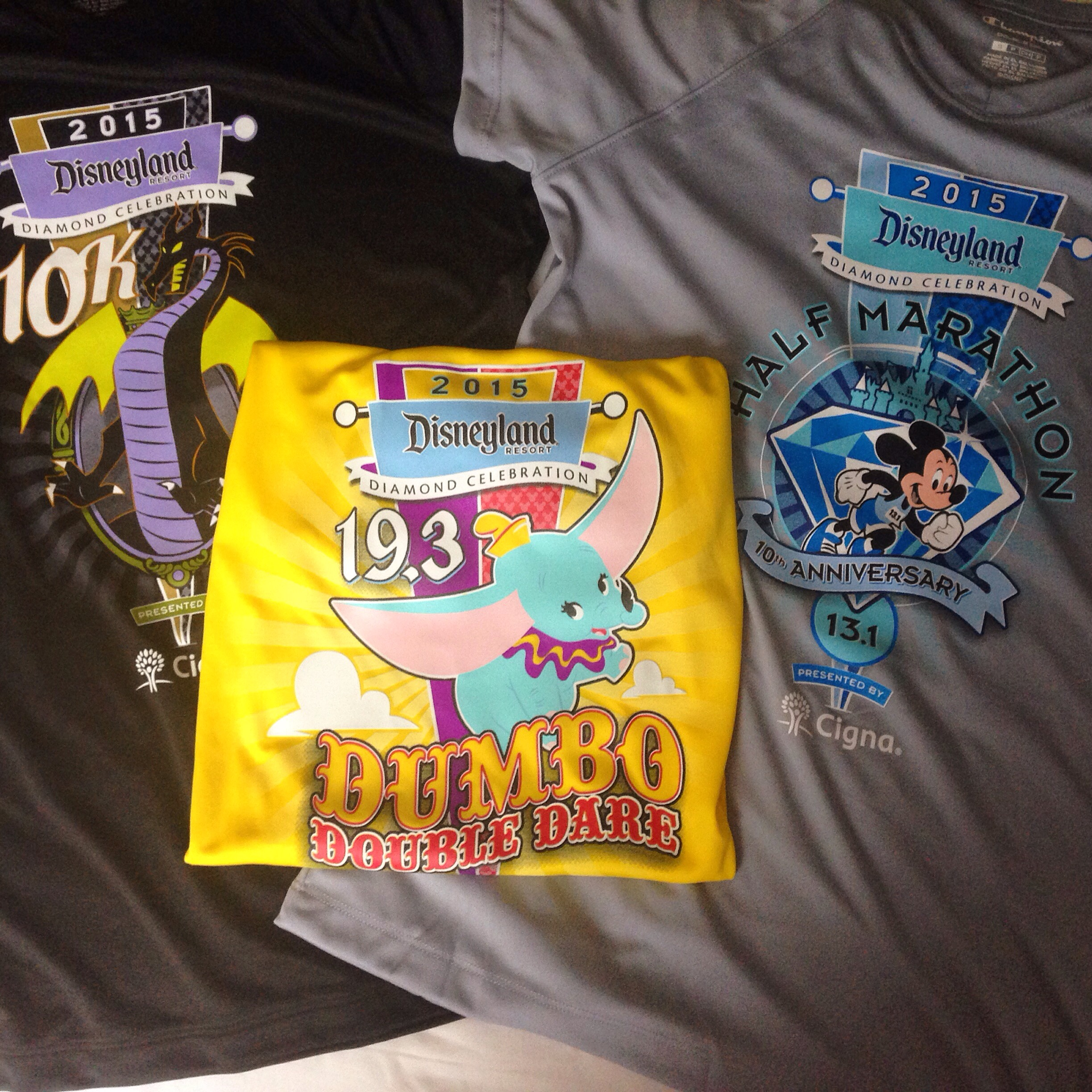 2015 Disneyland 10K, Dumbo Double Dare and Disneyland Half Marathon race shirts