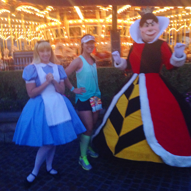 Alice in Wonderland and the Queen of Hearts during the 2015 Disneyland Half Marathon