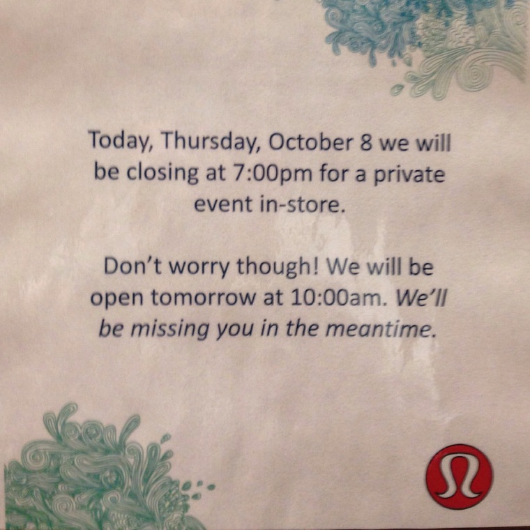 Lululemon sign