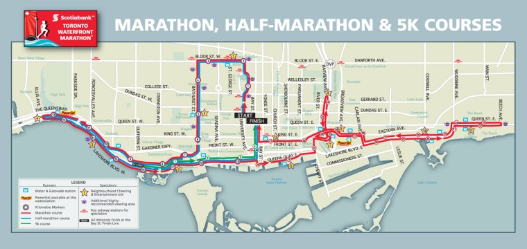Routes for the 2015 Scotibank Toronto Waterfront Marathon races